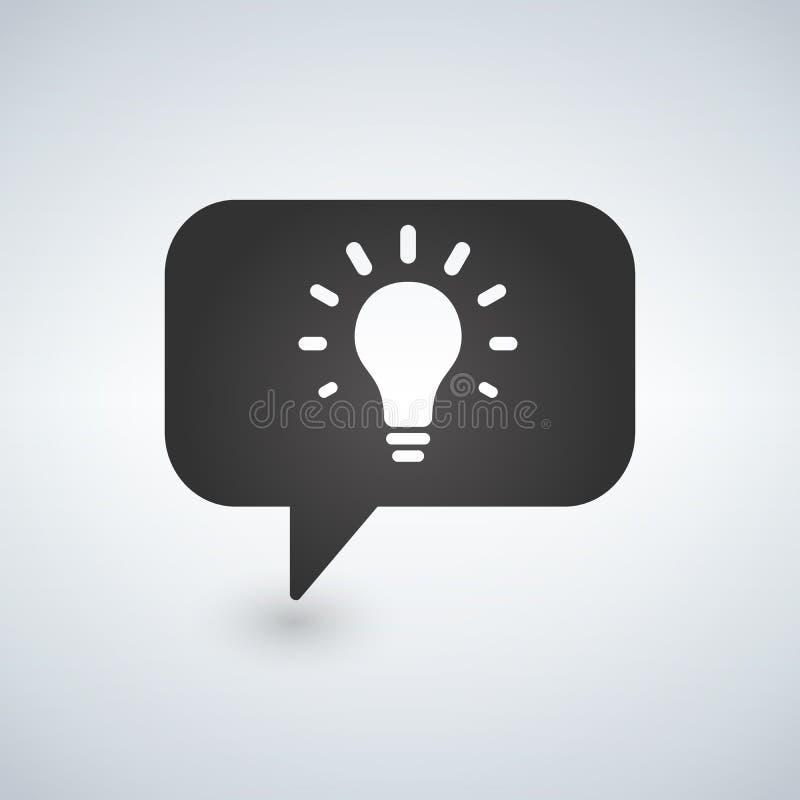 A lâmpada da ideia com discurso borbulha ícone simples Sinal de uma comunicação Símbolo do bulbo de Llight Vetor ilustração do vetor