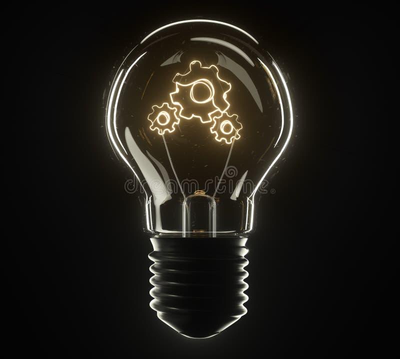 lâmpada da ilustração 3d Engrenagem foto de stock royalty free