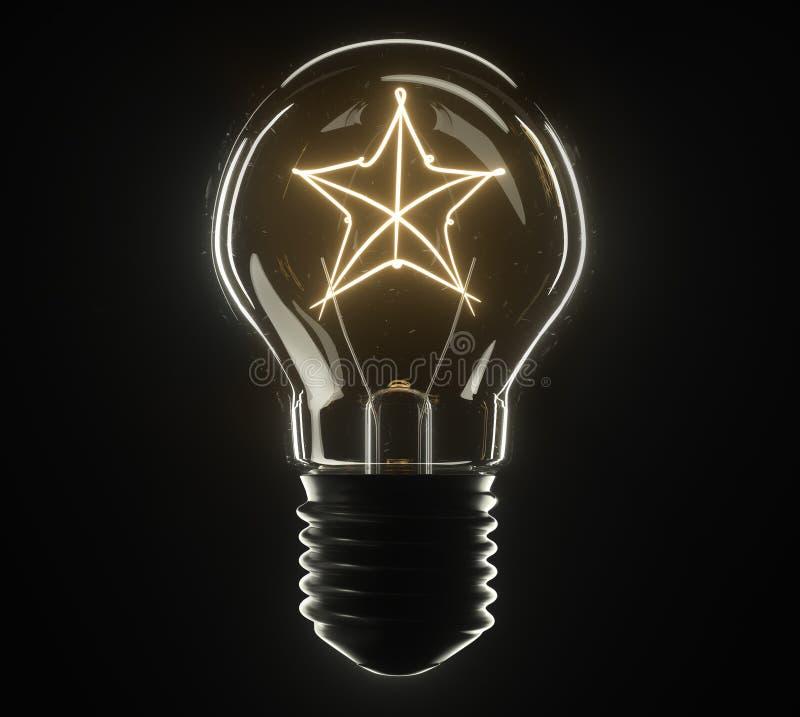 lâmpada da ilustração 3d Estrela foto de stock