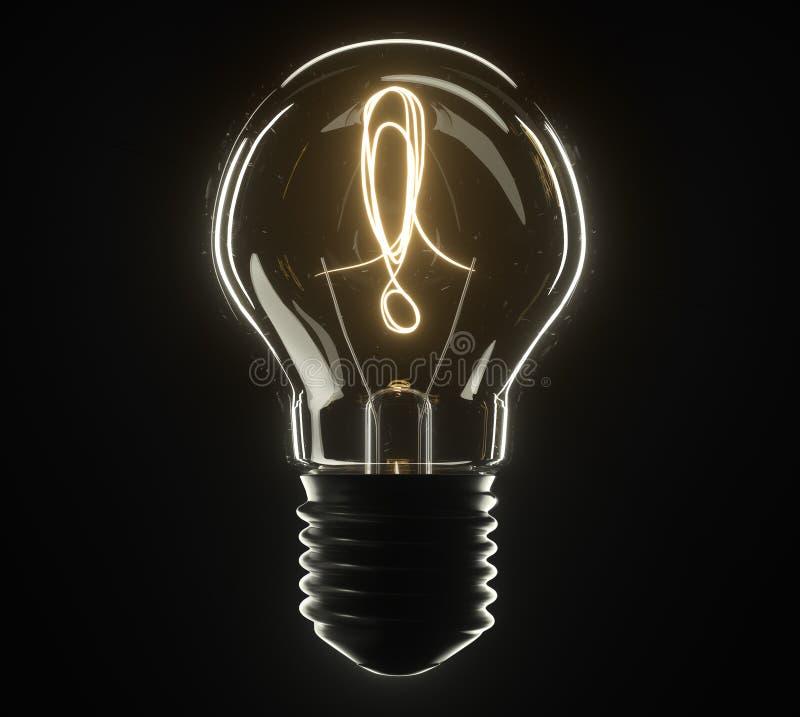 lâmpada da ilustração 3d Marca de exclamação foto de stock