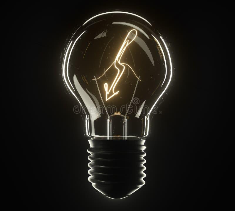 lâmpada da ilustração 3d Relâmpago fotografia de stock royalty free