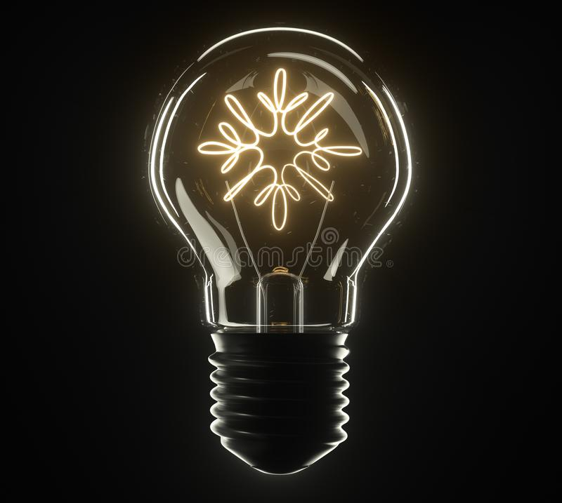 lâmpada da ilustração 3d snowflake imagem de stock royalty free