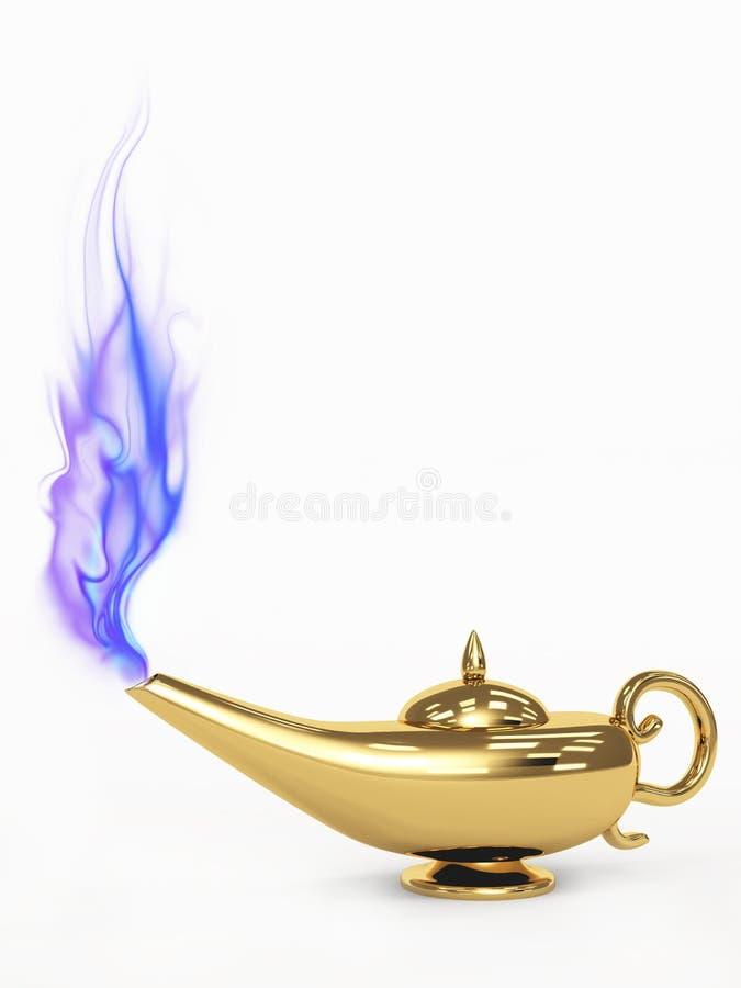 lâmpada da mágica 3d imagens de stock