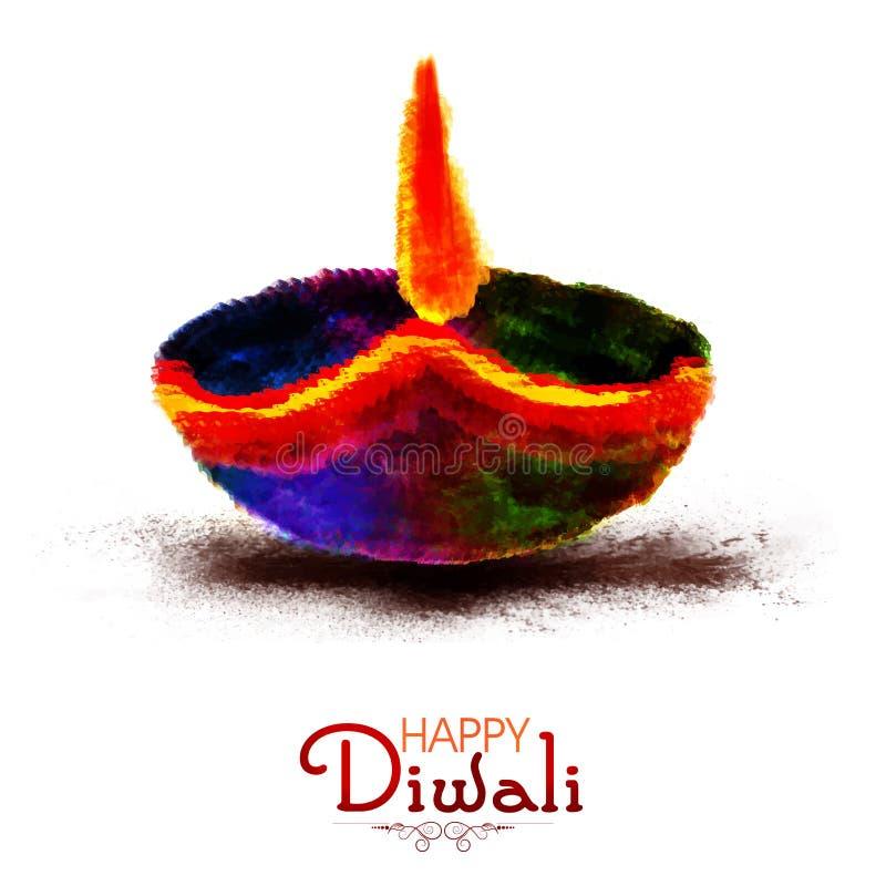 Lâmpada de óleo colorida Diya; para a celebração de Diwali ilustração royalty free