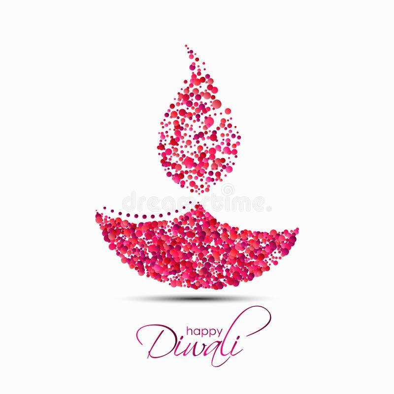 Lâmpada de óleo indiana do diya feita de confetes redondos ilustração royalty free