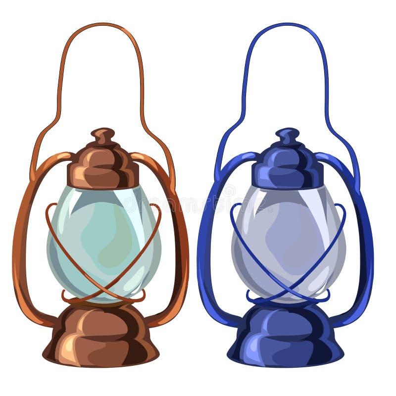 Lâmpada de óleo portátil do vintage em duas cores Vetor ilustração do vetor