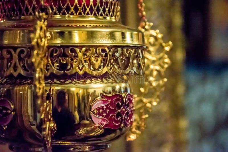 Lâmpada de óleo sacral ortodoxo do ícone foto de stock royalty free