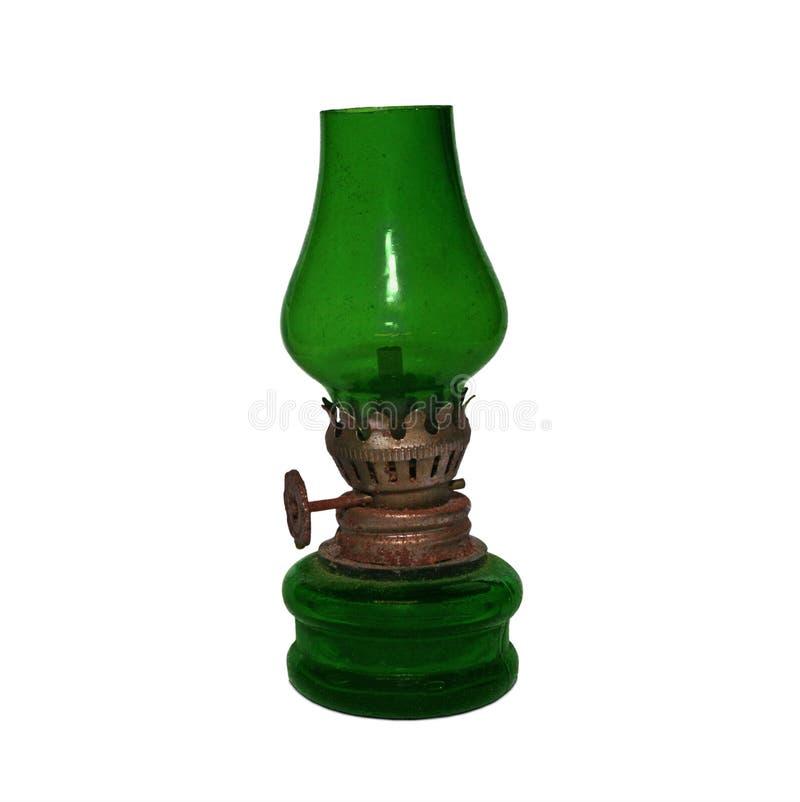 Lâmpada de óleo verde antiquado fotos de stock