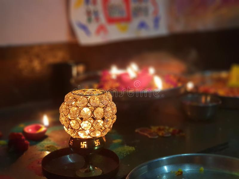 Lâmpada de Diwali fotografia de stock