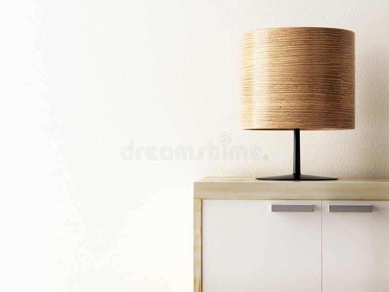 Lâmpada de madeira no close up do armário, conceito do estilo de vida ilustração royalty free