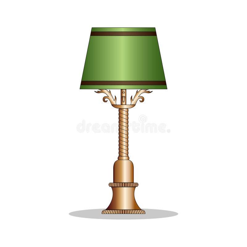 Lâmpada de mesa de bronze do vintage com a máscara de lâmpada verde ilustração stock