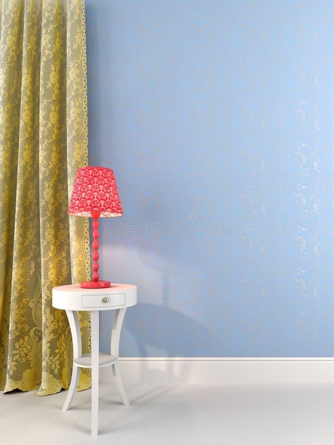 Lâmpada de mesa cor-de-rosa contra uma luz - parede azul ilustração do vetor