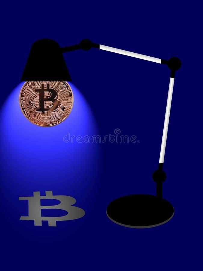 Lâmpada de mesa de Bitcoin fotografia de stock