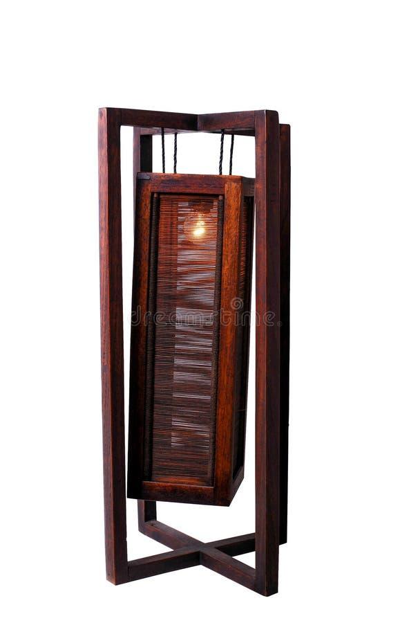 Lâmpada de mesa de madeira da decoração home fotos de stock royalty free