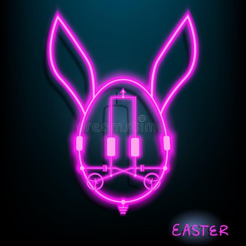 Lâmpada de néon do circuito do diodo emissor de luz da Páscoa do ovo do coelho com cor cor-de-rosa Fundo escuro Ilustração Vetor  ilustração stock
