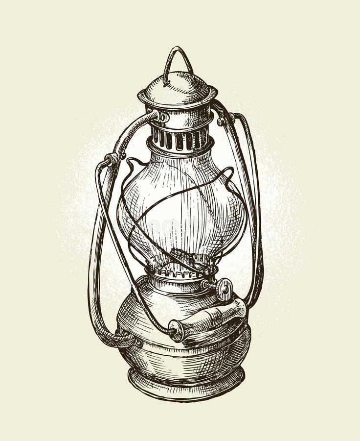 Lâmpada de querosene desenhado à mão do vintage Óleo do esboço Ilustração do vetor ilustração stock