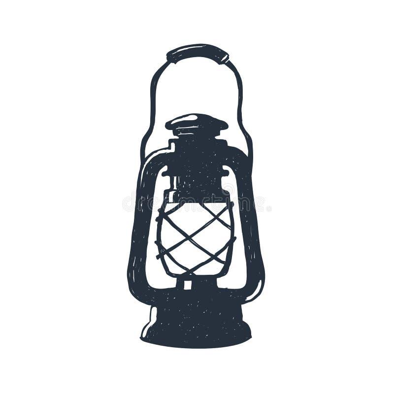 Lâmpada de querosene desenhado à mão do vintage Lanterna do óleo do esboço Ilustração do vetor Cópia do t-shirt poster No branco ilustração stock