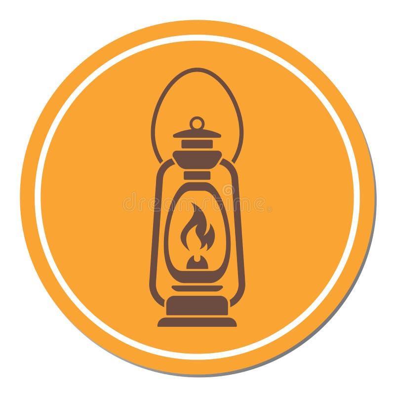 Lâmpada de querosene velha antiga isolada Projeto retro ilustração stock