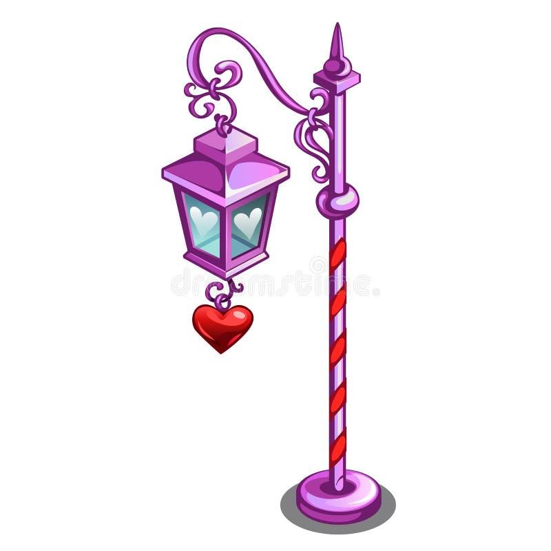 Lâmpada de rua cor-de-rosa com um pendente na forma de um coração vermelho isolado no fundo branco Close-up dos desenhos animados ilustração stock