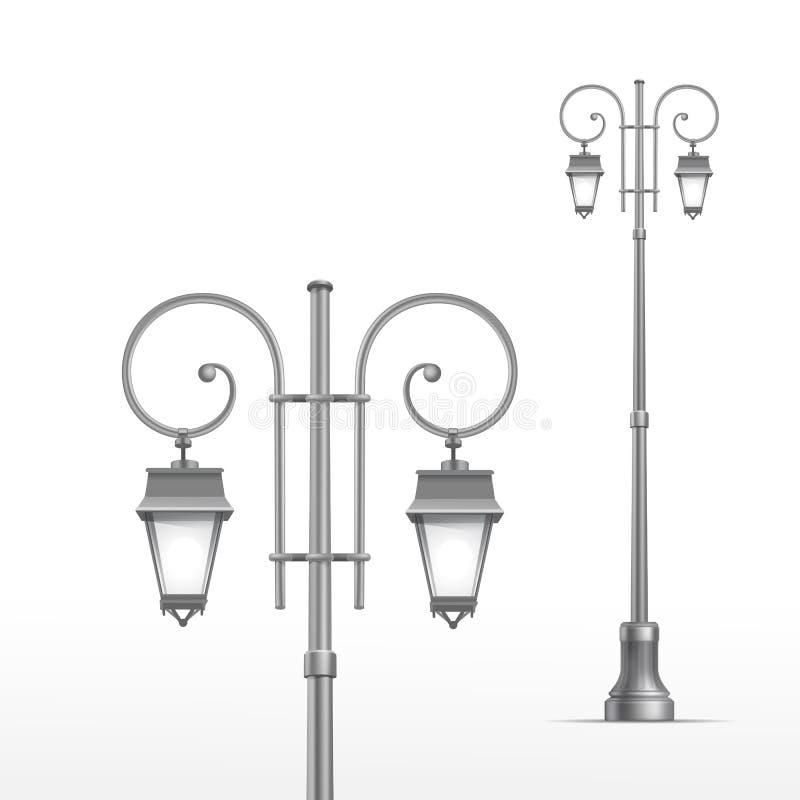 Lâmpada de rua do vetor isolada no fundo branco ilustração stock