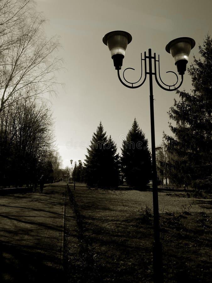 Lâmpada de rua em um fundo preto e branco fotos de stock