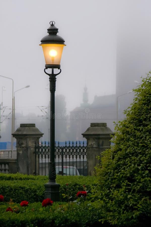 Lâmpada de rua na névoa imagem de stock royalty free