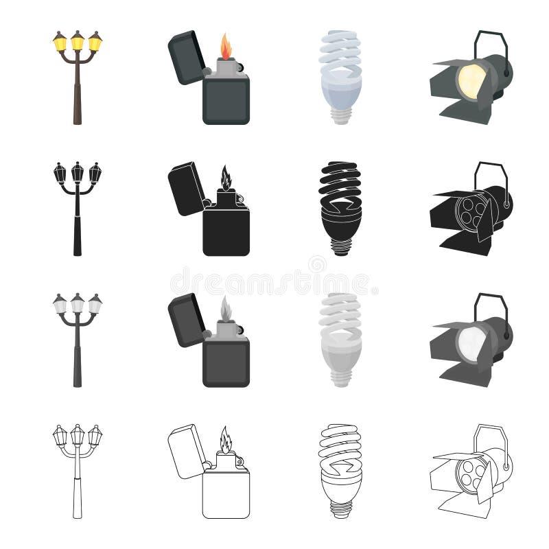 Lâmpada de rua, uma chama mais clara do ` s, um bulbo bonde, um projetor Os ícones ajustados da coleção da fonte luminosa nos des ilustração royalty free