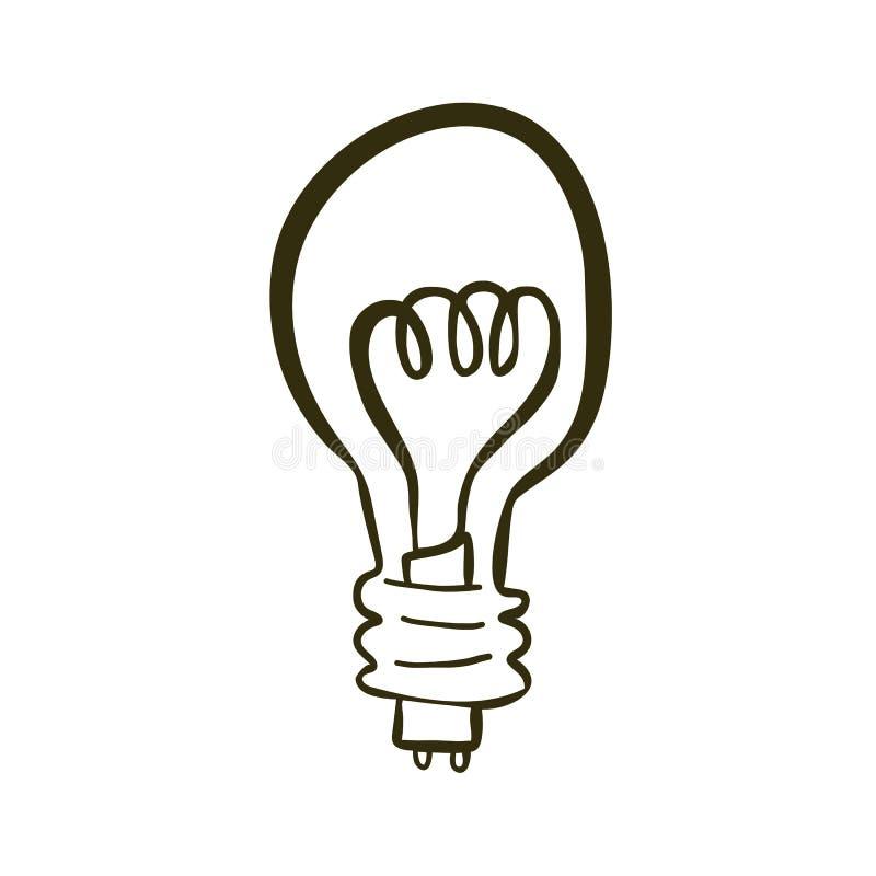 Lâmpada desenhada à mão ilustração do vetor