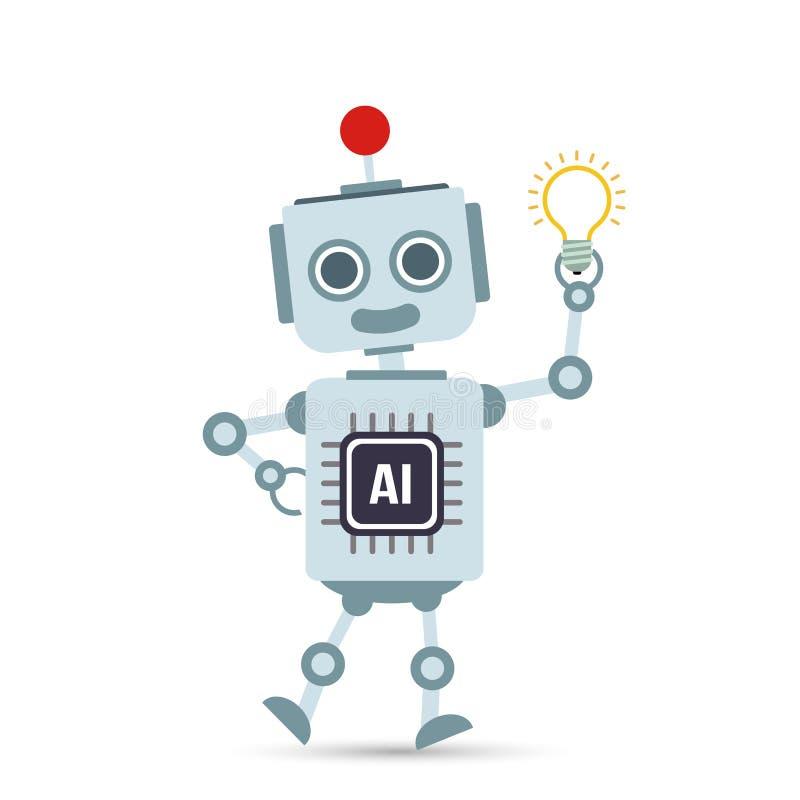 Lâmpada do bulbo da terra arrendada dos desenhos animados do robô da tecnologia de inteligência artificial do AI ilustração do vetor