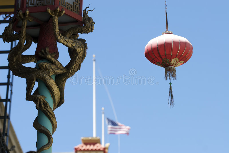 Lâmpada do dragão da cidade de China imagem de stock