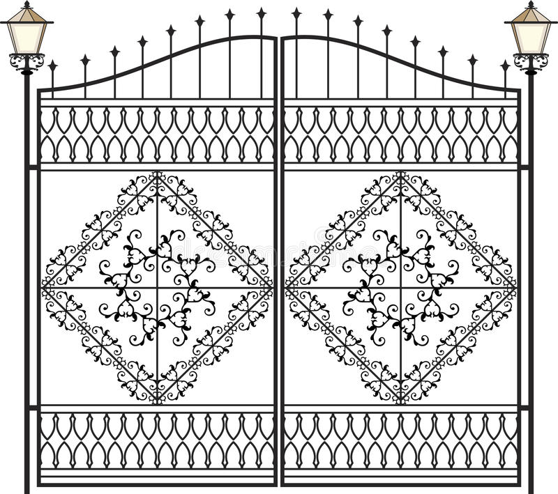 Lâmpada do ferro forjado, lanterna ilustração royalty free