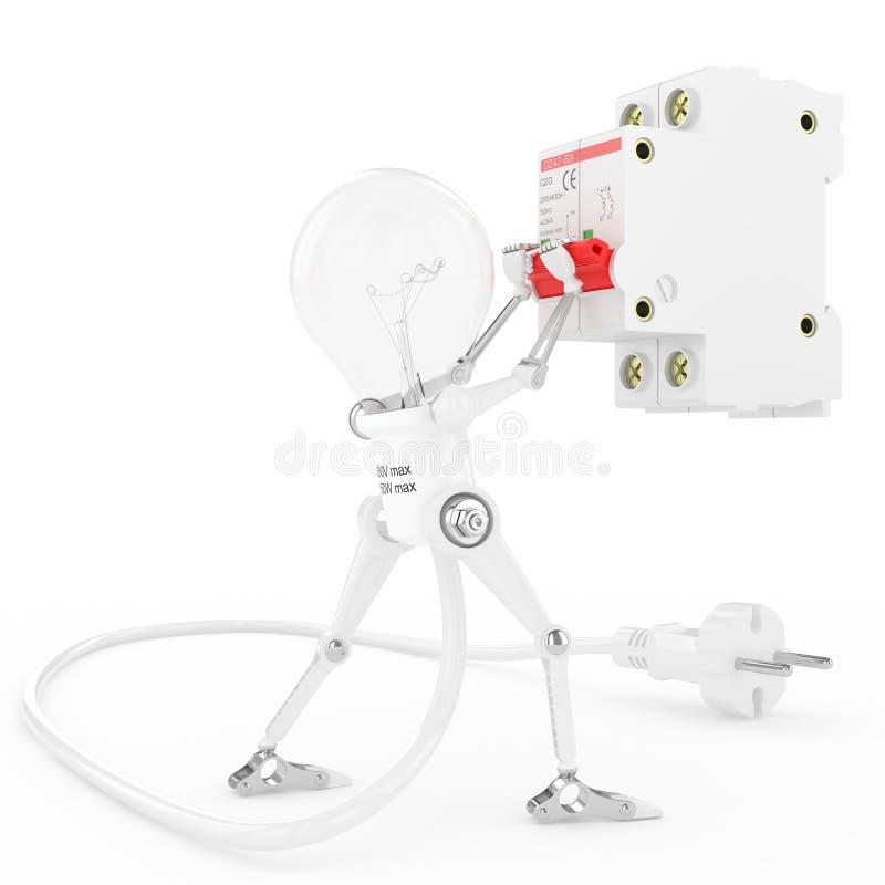 A lâmpada do robô gerencie sobre um disjuntor bonde ilustração do vetor