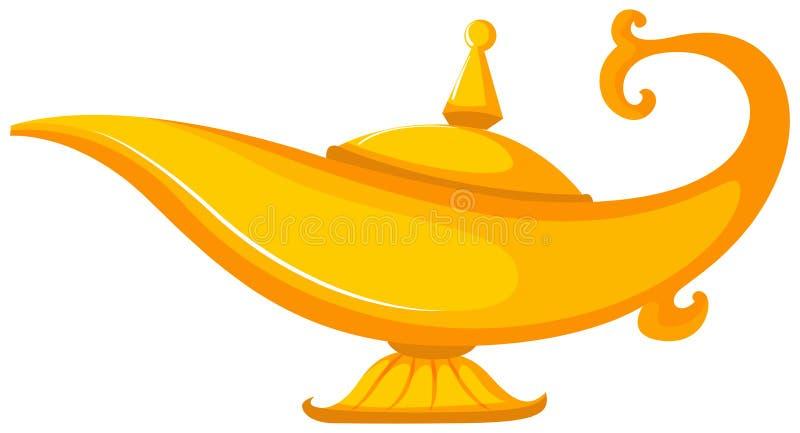 Lâmpada dourada no fundo branco ilustração do vetor