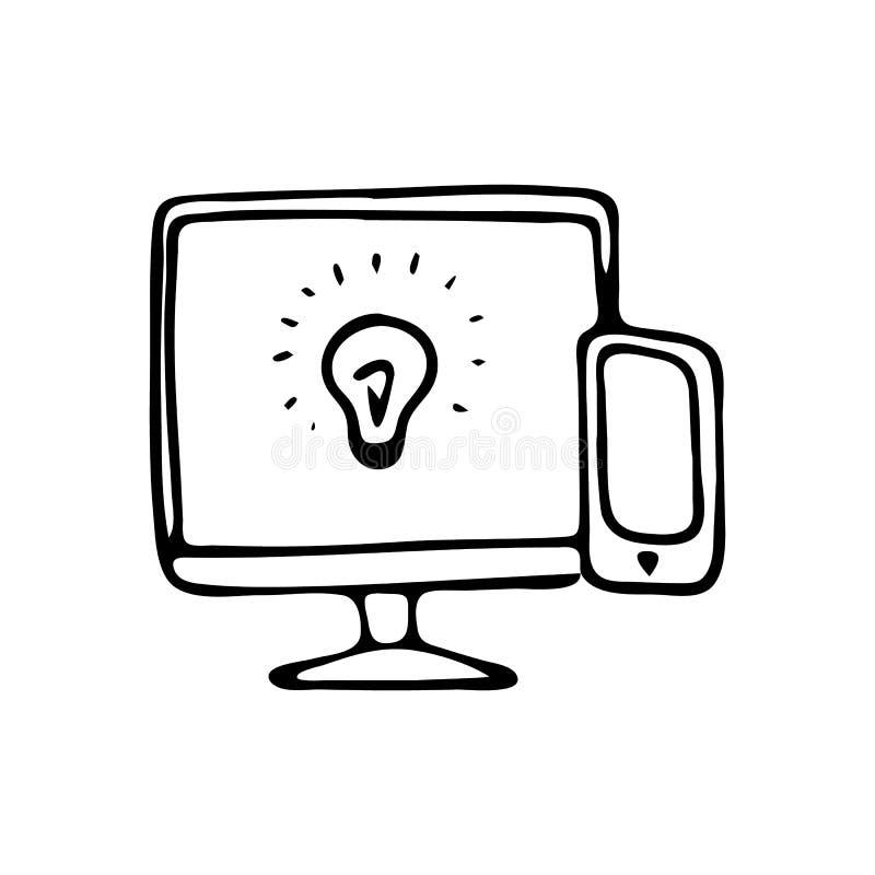 A lâmpada e o telefone tirados mão do tela de computador rabiscam o ícone Tração da mão ilustração royalty free