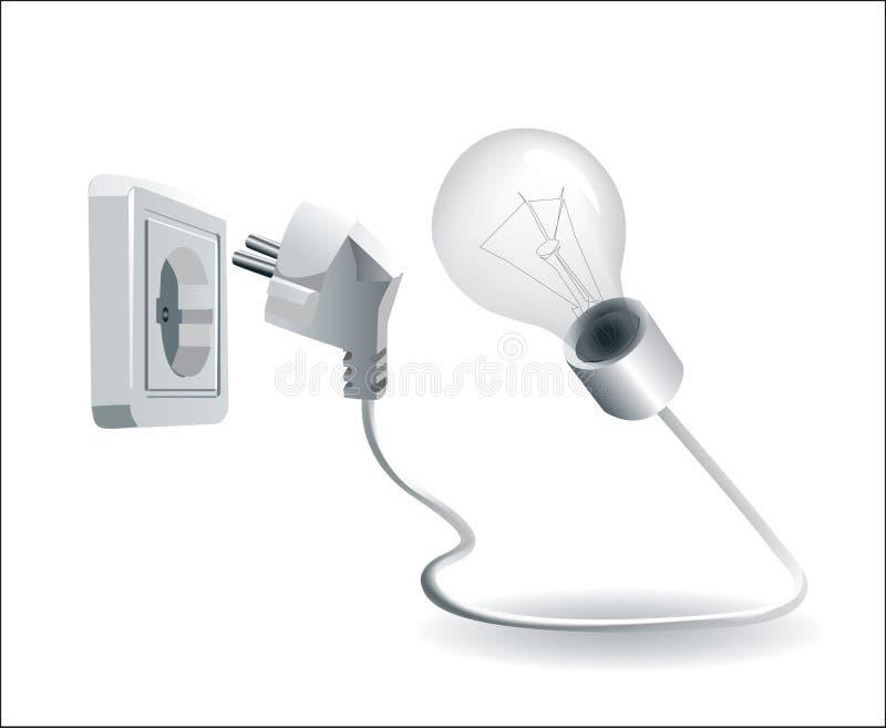 lâmpada e plugue elétrico e soquete ilustração royalty free