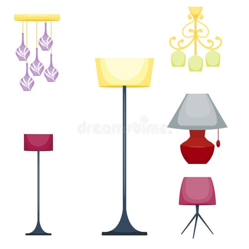 A lâmpada elétrica lisa da lanterna ilumina ilustração apropriada do vetor da eletricidade da ampola da tecnologia do iluminador ilustração do vetor
