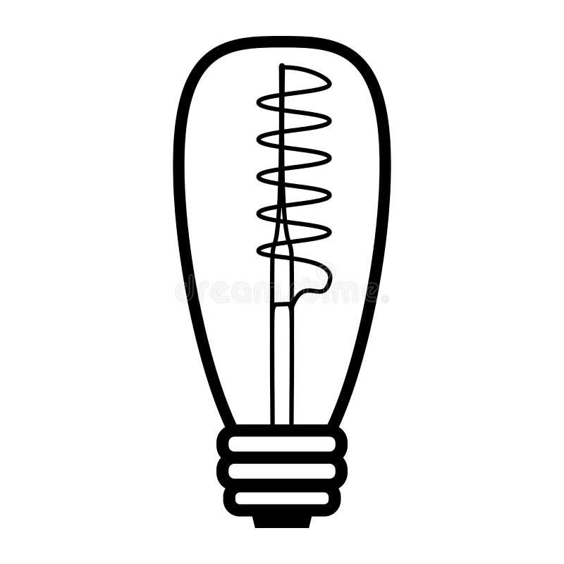 Lâmpada espiral de Edison Ilustração do estilo do esboço ilustração stock