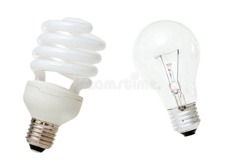Lâmpada fluorescente compacta & bulbo Incandescent imagem de stock