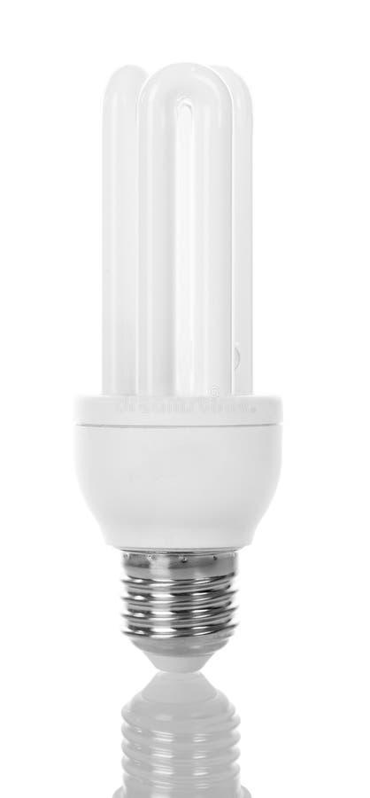 Lâmpada fluorescente compacta de poupança de energia isolada no branco fotos de stock