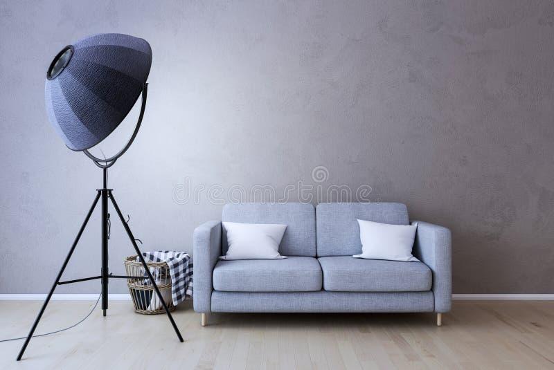 Lâmpada interior com sofá, parede vazia no fundo ilustração do vetor