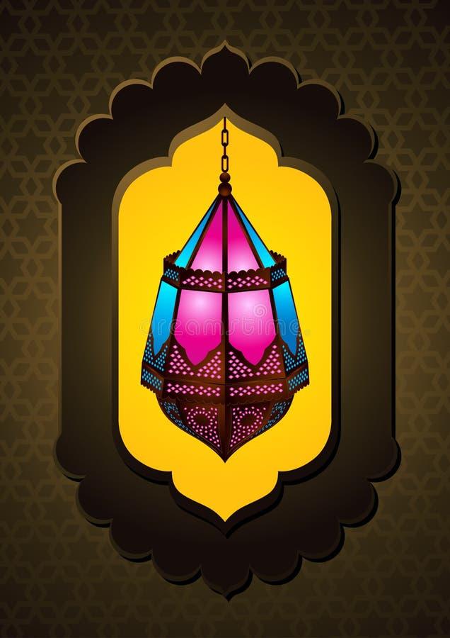 Lâmpada islâmica bonita no arco - vetor ilustração royalty free