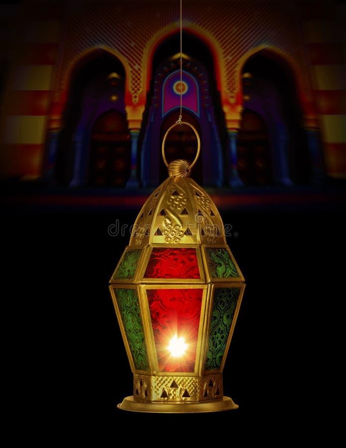 Lâmpada islâmica no fundo da mesquita imagem de stock royalty free