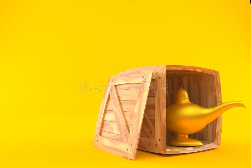 Lâmpada mágica dentro da caixa de madeira ilustração stock