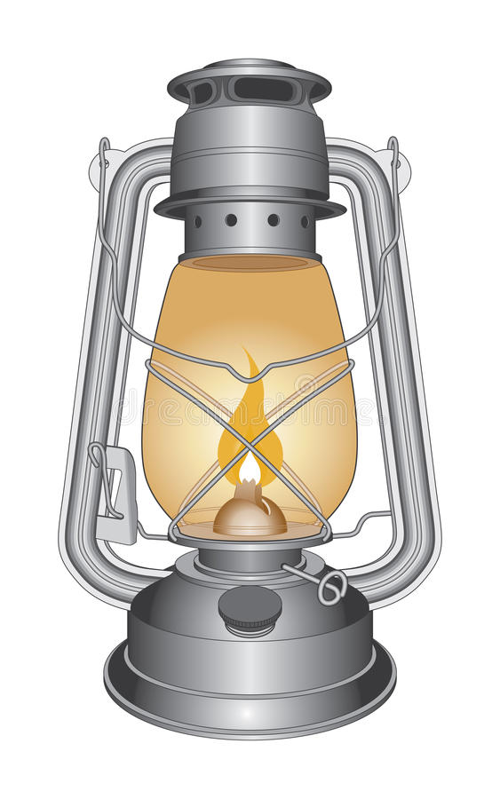 Lâmpada ou lanterna de petróleo do vintage ilustração do vetor