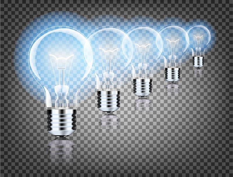 Lâmpada realística com uma luz brilhante em um fundo isolado Ilustração do vetor Lâmpada elétrica de Addison s ilustração royalty free