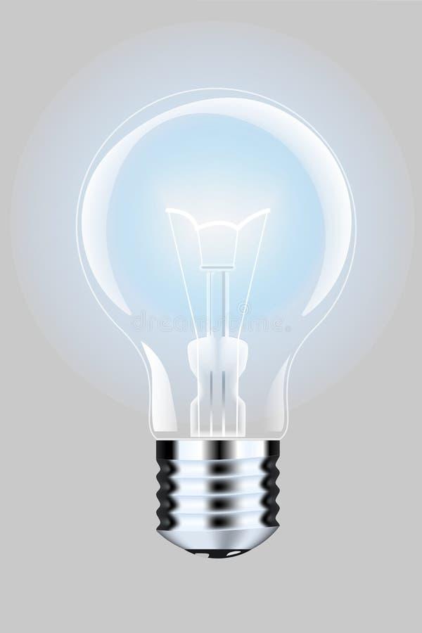 Lâmpada realística com uma luz brilhante em um fundo isolado Ilustração do vetor Lâmpada elétrica do ` s de Addison ilustração royalty free