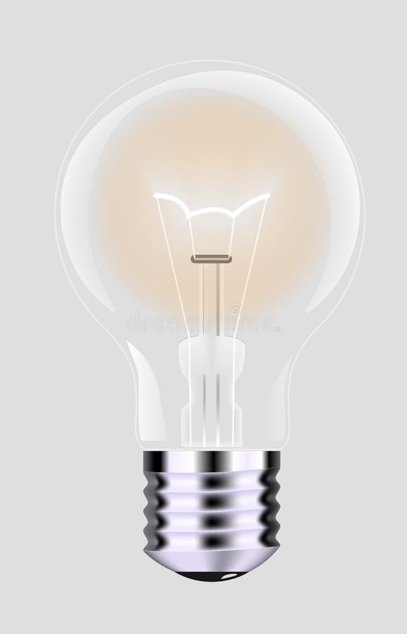 Lâmpada realística com uma luz brilhante em um fundo isolado Ilustração do vetor Lâmpada elétrica do ` s de Addison ilustração do vetor