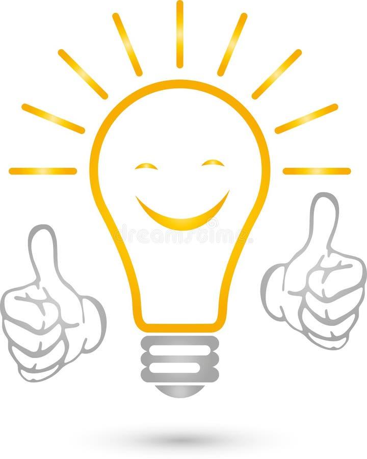 Lâmpada, sorriso, eletricistas, ideia, logotipo, mãos ilustração do vetor