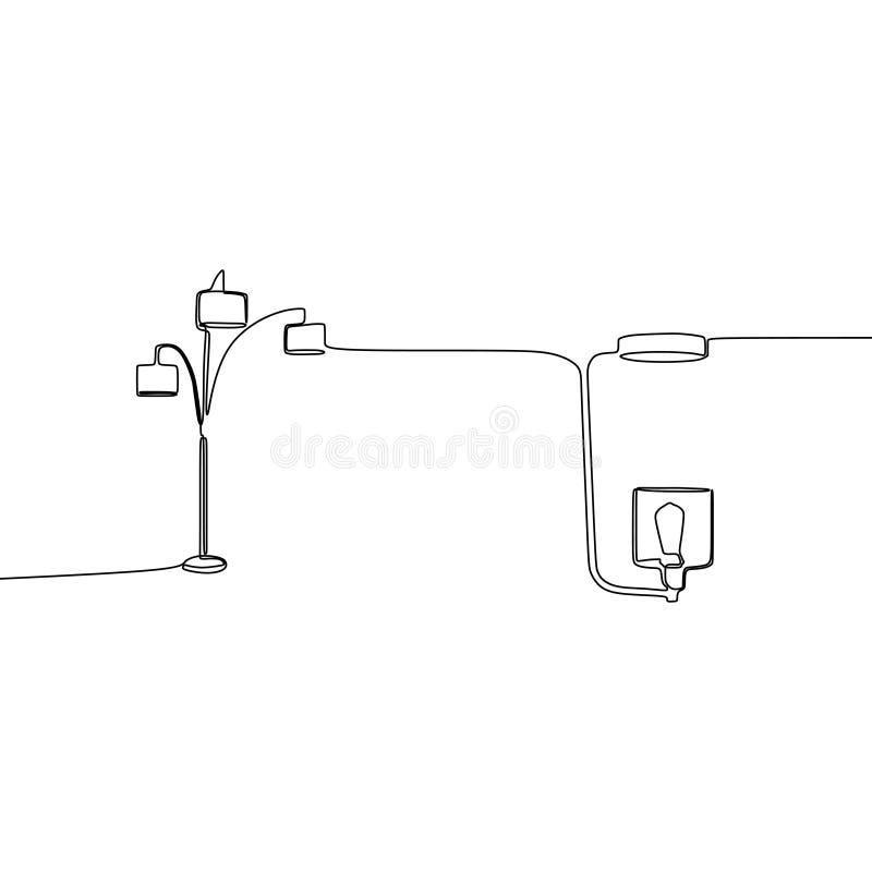 lâmpada tripla e a lápis moderno desenho da lâmpada uma da lâmpada para a ilustração minimalista do vetor do projeto da mobília d ilustração stock
