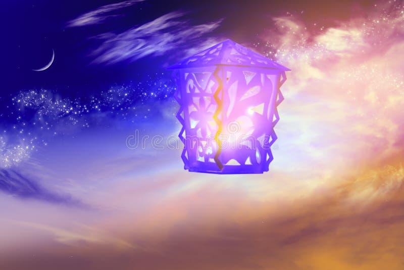 Lâmpadas árabes intrincadas com luzes Ramadã generosa ilustração stock